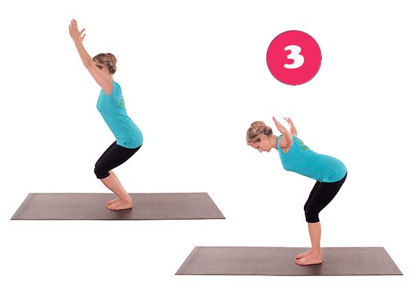 Ardha Utkatasana – Wichtig bei Yoga für den Rücken: Kräftigung des unteren Rückens sowie der Beinmuskulatur