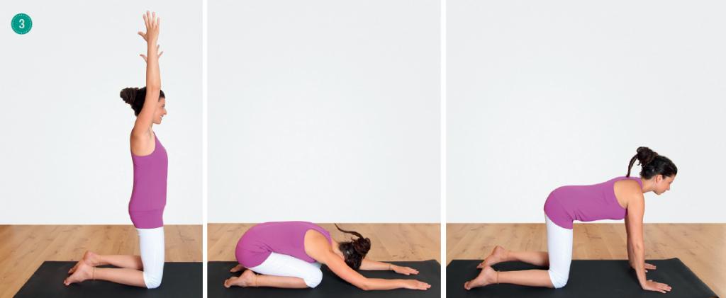 Yogaübungsabfolge für den Atem – Diamantsitz, Stellung des Kindes, Vierfüßler