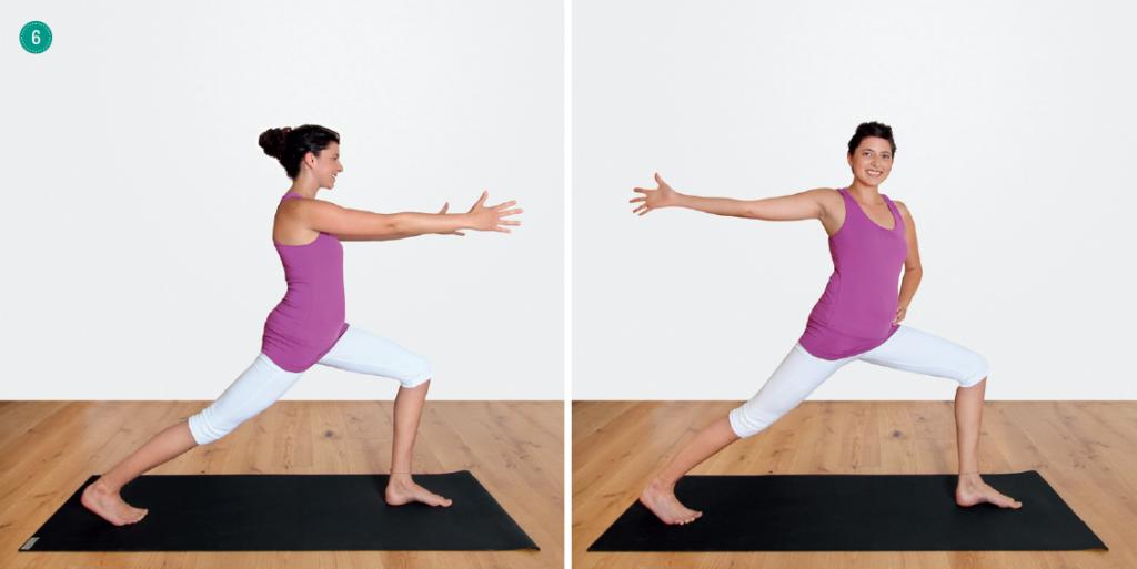 Yogaübungen für den Atem – Variante von Heldenstellung Nr. 1