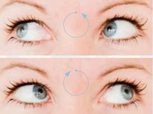 Augen Übung: Augen im und gegen Uhrzeigersinn kreisen lassen