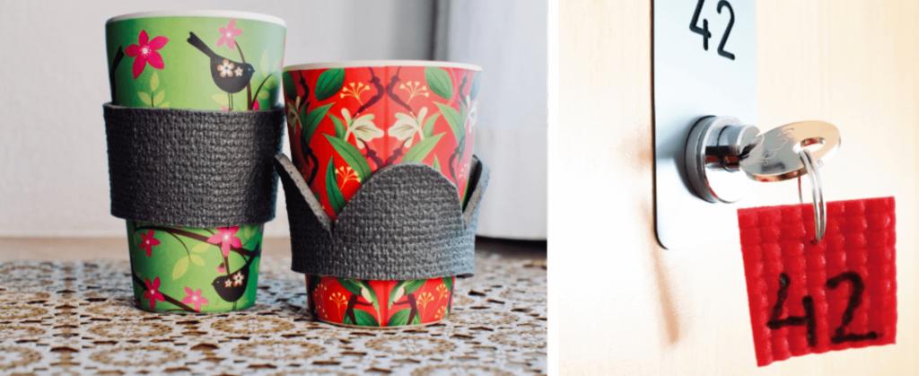 Kaffeebecher-Untersetzer und Schlüsselanhänger aus alter Yogamatte machen.