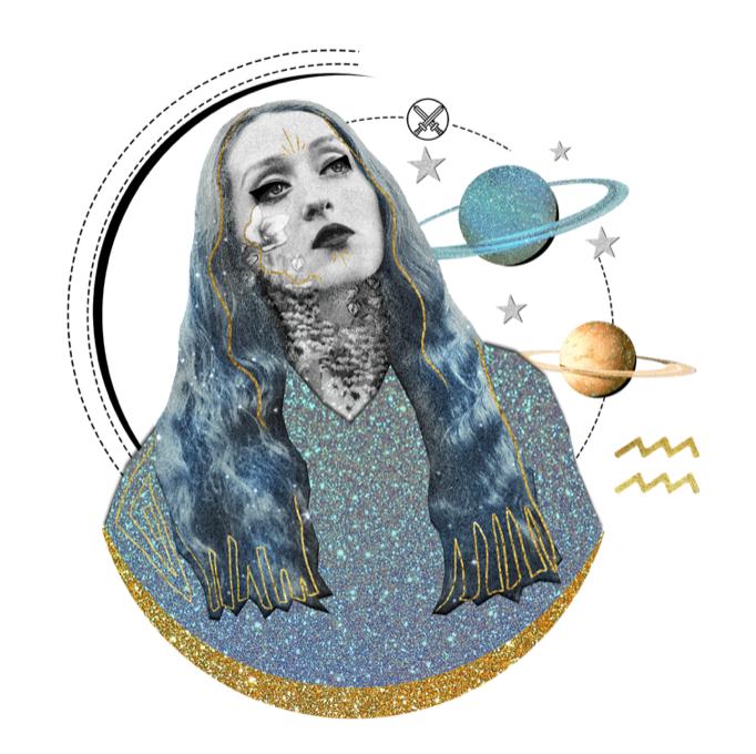 Das Mantra für WASSERMANN Collage von Ellen Holzschuster