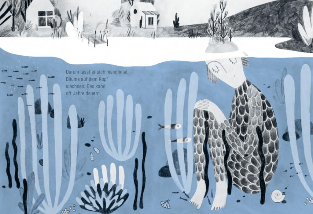 """Illustration aus """"Der Wassermann hat Zeit"""" – von Leonie Schlager, erschienen im Tyrolia Verlag 2021"""